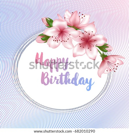 Happy Birthday Flowers Greeting Card Template Stock Vector Royalty