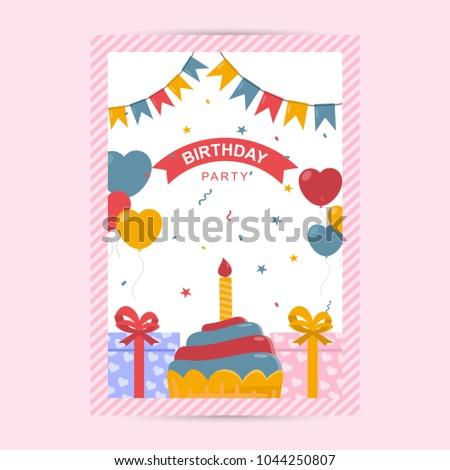 happy birthday flyer template stock vector royalty free 1044250807