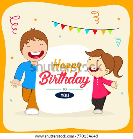 Happy Birthday With Friends Wishing Greeting Card Hand Lettering Text And Decorative Elements
