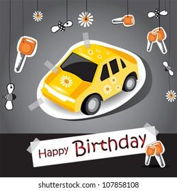 Happy Birthday Funny Card Car