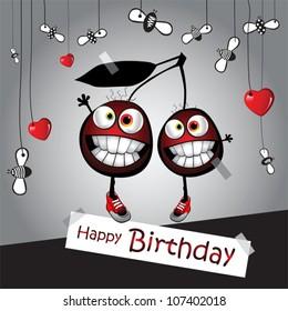 happy birthday funny card cherry