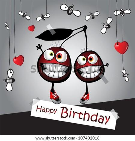 Happy Birthday Funny Card Cherry Stock Vector Royalty Free