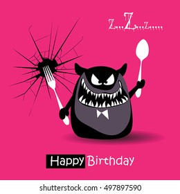 happy birthday funny card smile monsters