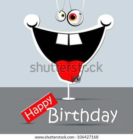 Happy Birthday Funny Card Smile Stock Vector Royalty Free
