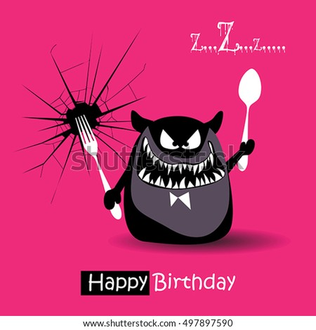 Happy Birthday Funny Card Smile Monsters Stock Vector Royalty Free