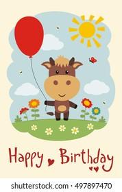 Happy Birthday Funny Kitten Cat Balloon Stock Vector Royalty Free
