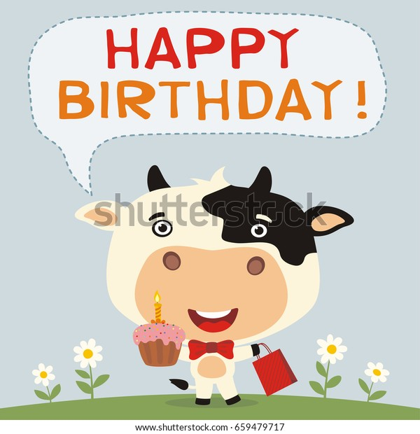 Happy Birthday Funny Cow Cake Gift Stock Vector (Royalty