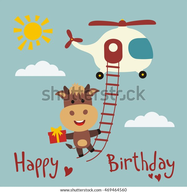 Happy birthday! Funny cow flying on a helicopter with gift in hand. Greeting card.