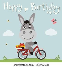 Happy Birthday Funny Donkey On Bike Stock Vector Royalty Free 556902538
