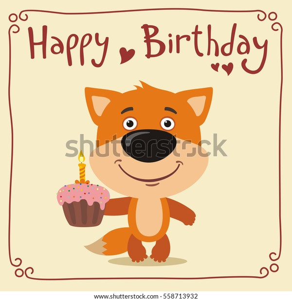 Happy birthday! Funny fox with cake. Greeting card.
