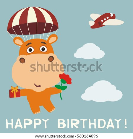 Happy Birthday Funny Hippo Fly On Parachute With Gift And Flower Card Hippopotamus