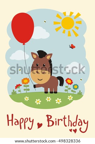 Happy Birthday Funny Horse With Balloon On Flower Meadow Greeting Card