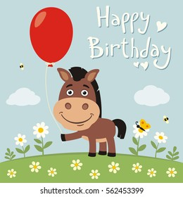 Happy birthday! Funny horse with red balloon on flower meadow in cartoon style.