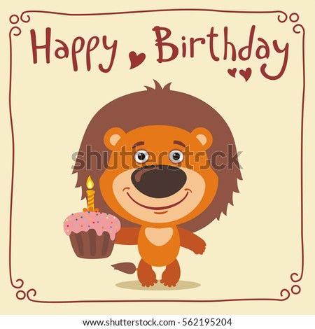 Happy Birthday Funny Lion With Cake Greeting Card In Cartoon Style