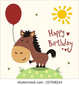 Happy birthday! Funny little horse with balloon, handwritten text. Greeting card.