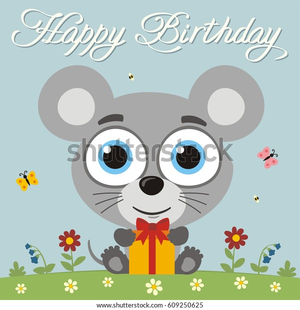 Happy Birthday Funny Little Mouse Gift Stock Vector Royalty Free