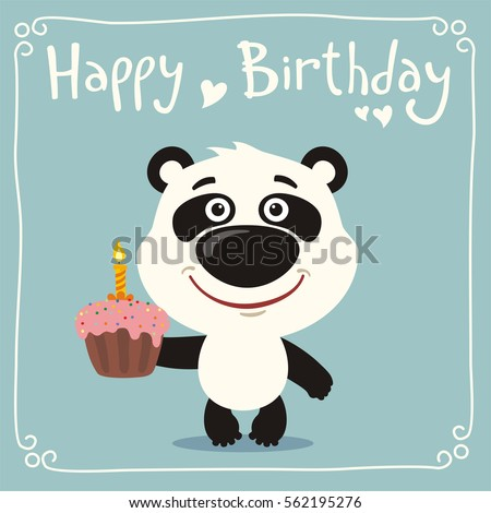 Excellent Happy Birthday Funny Panda Bear Cake Stock Vector Royalty Free Funny Birthday Cards Online Inifofree Goldxyz