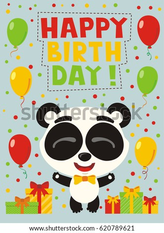Happy Birthday Funny Panda With Gifts And Balloons Greeting Card