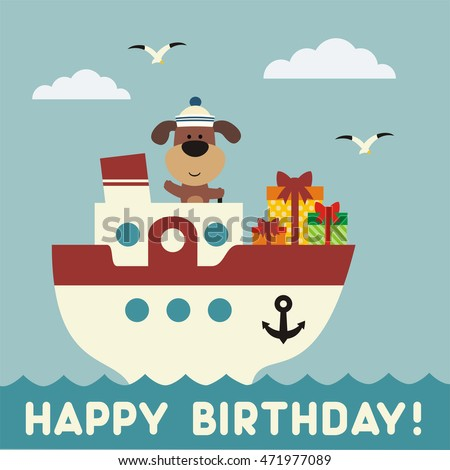 Happy Birthday Funny Puppy On The Ship With Gift Greeting Card