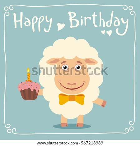 Happy Birthday Funny Sheep With Cake Greeting Card