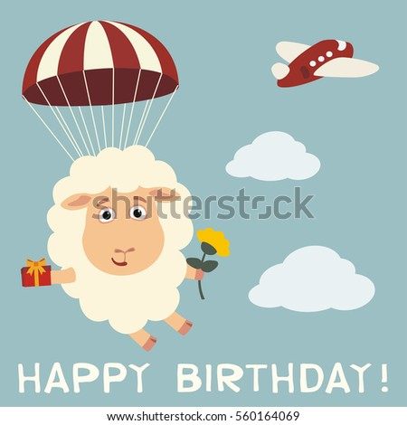 Happy Birthday Funny Sheep Fly On Stock Vector Royalty Free