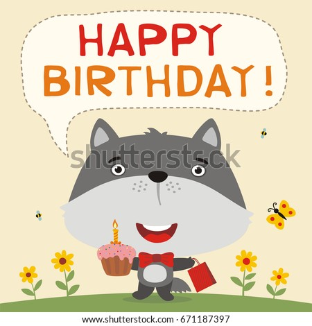 Happy Birthday Funny Wolf With Cake And Gift Greeteng Card