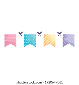 happy birthday garlands hanging acuarela style vector illustration design