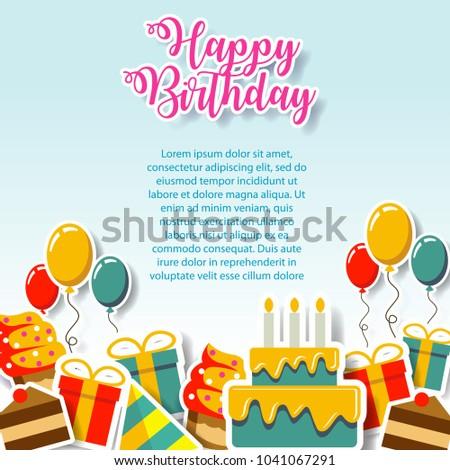 Happy Birthday Gift Card Invitation Design Stock Vector Royalty