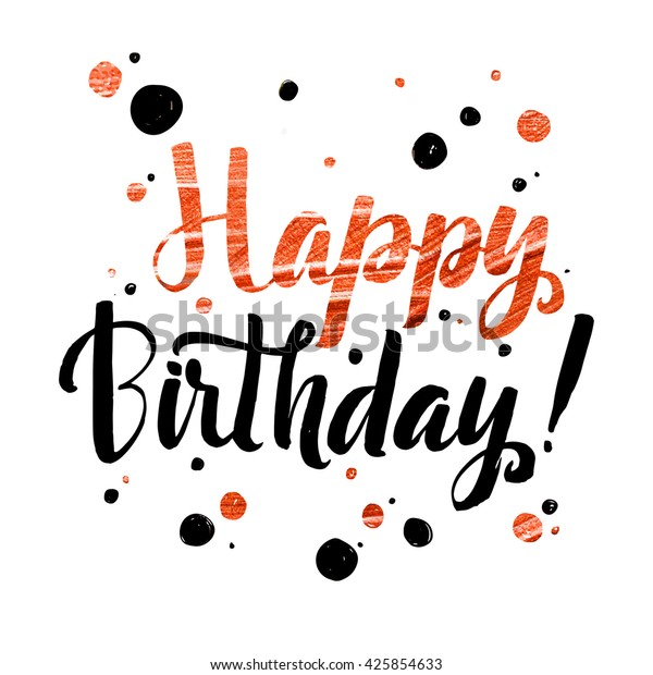 picture about Happy Birthday Lettering Printables identified as Satisfied Birthday Gold Foil Calligraphic Concept Inventory Vector