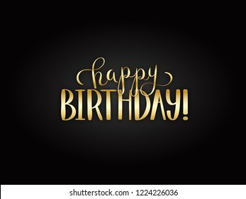 HAPPY BIRTHDAY gold hand lettering on black background