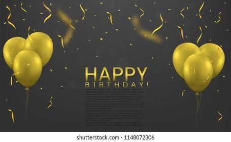 Happy Birthday. Golden balloons and Golden flying confetti