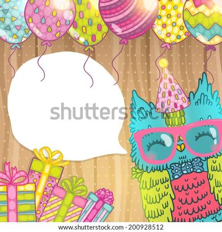 Happy Birthday Greeting Background Owl Vector Vector De Stock Libre