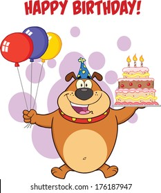 Happy Birthday Greeting With Brown Bulldog Holding Up A Birthday Cake With Candles