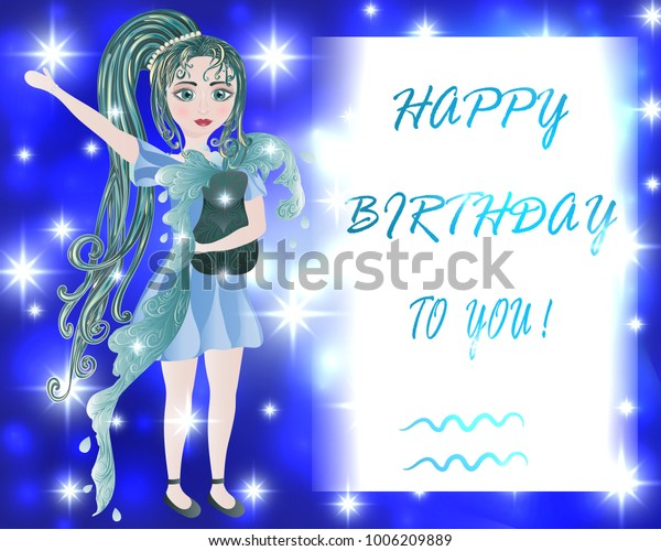 Happy Birthday Greeting Card Aquarius Zodiac Stock Vector