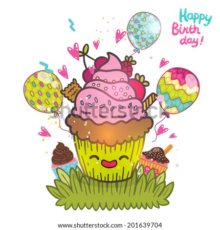 Happy birthday greeting card background cupcake stock vector happy birthday greeting card background with cupcake vector muffin illustration m4hsunfo