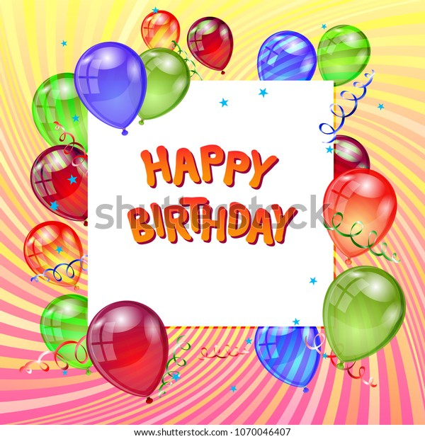 Happy Birthday Greeting Card Background Balloons Stock Vector