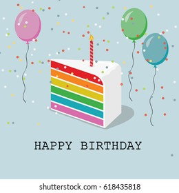 Happy Birthday greeting card with balloons, confetti and rainbow cake