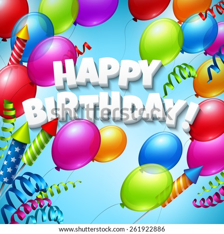 Happy Birthday Greeting Card With Balloons Vector Illustration EPS 10