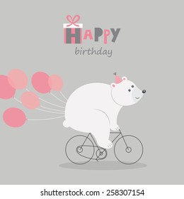 happy birthday greeting card bear. vector illustration