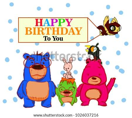 Happy birthday greeting card bear family stock vector royalty free happy birthday greeting card with bear family m4hsunfo