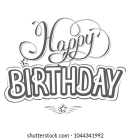 Happy birthday greeting card with a beautiful inscription. Vector illustration.