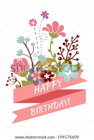 Happy Birthday Greeting Card Beautiful Vintage Stock Vector Royalty