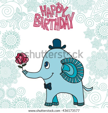 Happy Birthday Greeting Card With Beautiful Cute Elephant Vector Illustration