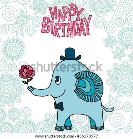 Happy Birthday Greeting Card Beautiful Cute Stock Vektorgrafik