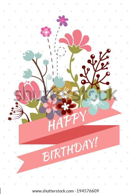 Happy Birthday Greeting Card Beautiful Vintage Stock Vector (Royalty Free) 194576609