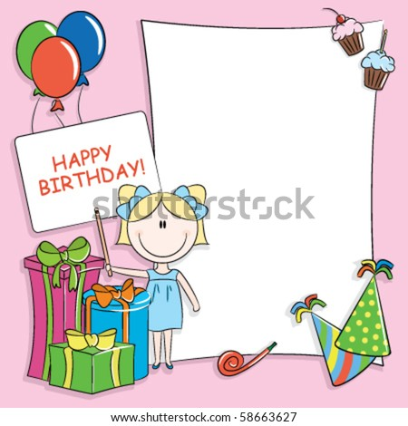 Happy Birthday Greeting Card With Blank Place For Your Wishes And Message