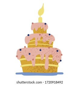Happy Birthday greeting card with cake, cupcake, topper, candles. Vector hand drawn illustration. Scandinavian style.