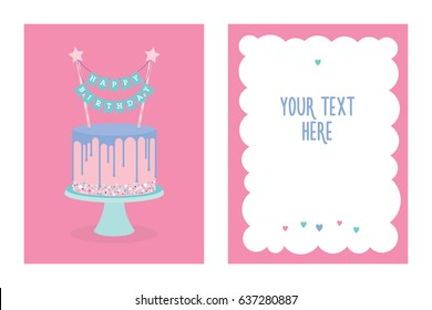 Happy Birthday Greeting Card With Cake And Decoration Vector Place For Your Text