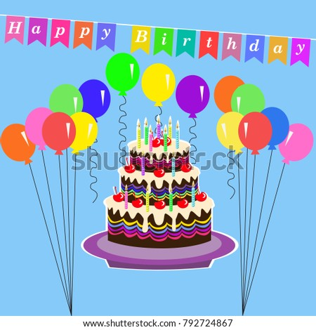 Happy birthday greeting card cake balloons stock vector royalty happy birthday greeting card with cake balloons candle and decoration text vector illustration m4hsunfo