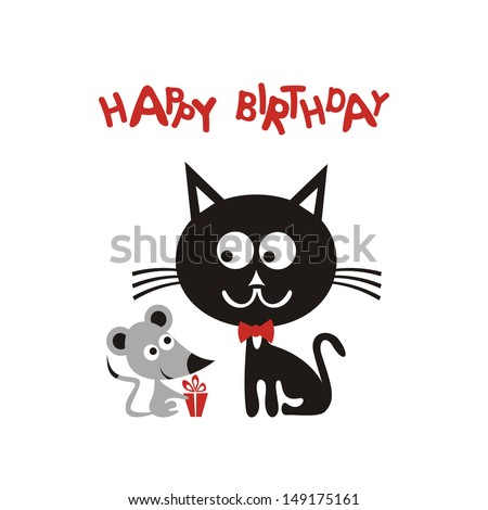 Happy Birthday Greeting Card With Cartoon Cute Mouse And Black Cat Gift Vector Illustration